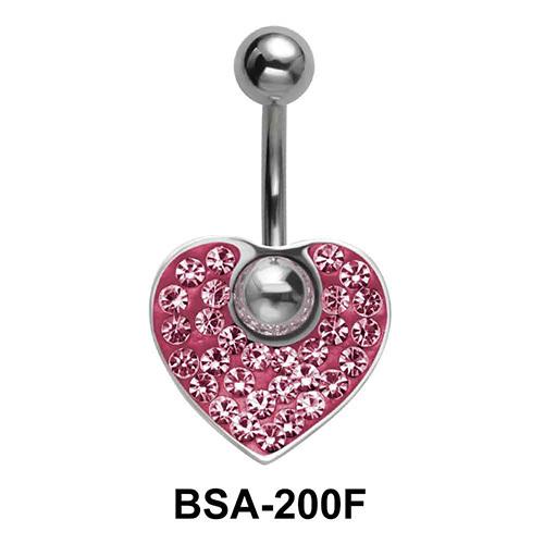Pink Heart Belly Rainbow Piercing BSA-200F