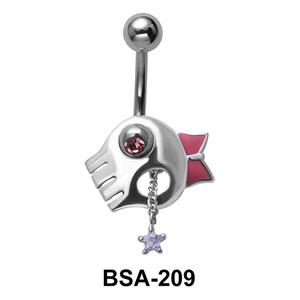 Bow Skull & Star Belly Piercing BSA-209