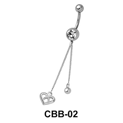 Small Heart Chained Belly Piercing CBB-02