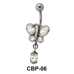 Butterfly with CZ Belly Piercing CBP-06
