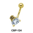 Heart with Rose Belly CZ Crystal CBP-124