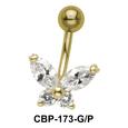 Designer Butterfly Belly CZ Crystal CBP-173