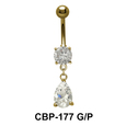 Round n Pear Shaped Stone Set Belly Piercing CBP-177