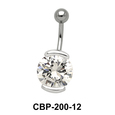 Round Shaped with CZ Belly Piercing CBP-200
