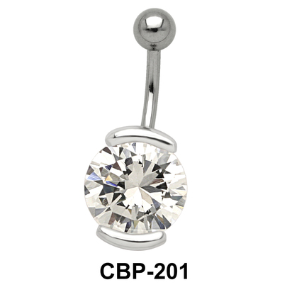 Round Shaped with CZ Belly Piercing CBP-201