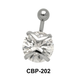 Round Shaped with CZ Belly Piercing CBP-202