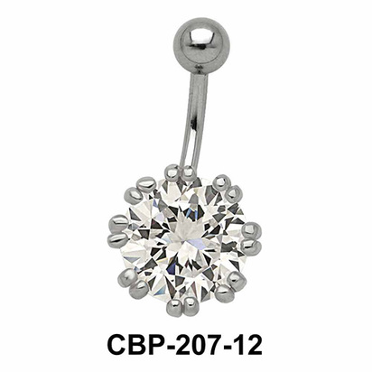Flower Designed Belly CZ Crystal CBP-207-12