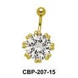 Flower Designed Belly CZ Crystal CBP-207-15