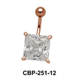 Belly Piercing with Princess Cut CZ CBP-251-12
