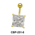 Belly Piercing with Princess Cut CZ CBP-251-8