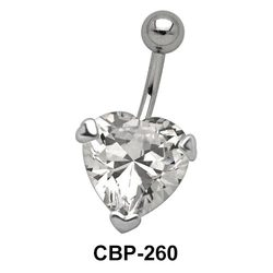 Prong Set Heart Belly CZ Crystal CBP-260