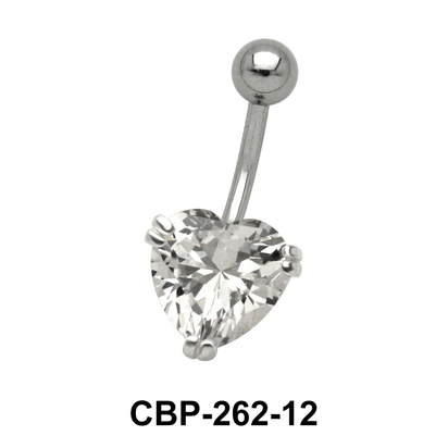 Heart Belly Prong Set CZ Crystal CBP-262-12