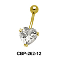 Heart Belly Prong Set CZ Crystal CBP-262-12