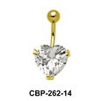 Heart Belly Prong Set CZ Crystal CBP-262-14