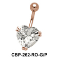 Heart Belly Prong Set CZ Crystal CBP-262-15