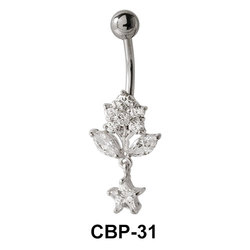 Flower Shaped CZ Belly Piercing CBP-31