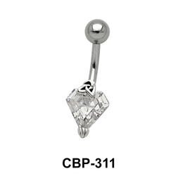 CZ Diamond Shaped Belly Piercing CBP-311