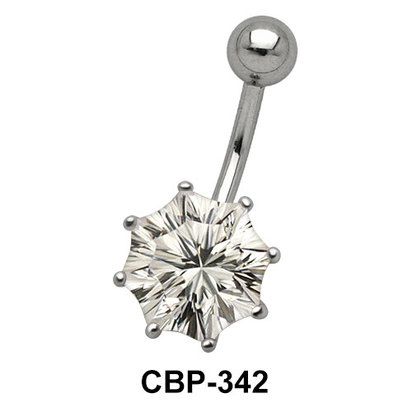 Flower Prong Set Belly CZ Crystal CBP-342