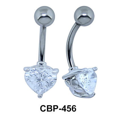 Radiant Colorless Stone Heart Belly Piercing CBP-456