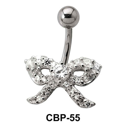 Bow Designed Stone Set Belly Piercing CBP-55
