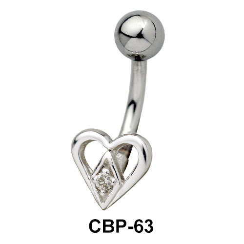 Stone Set Heart Belly Rings CBP-63