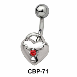 Heart and Lock Stone Set Belly Piercing CBP-71