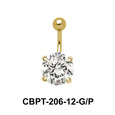 Round Brilliant Prong Set Belly CZ Crystal With Titanium Bar CBPT-206-12