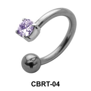 Bezel Set Stone Belly Piercing Circular Barbell CBRT-04