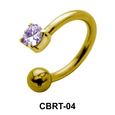 Bezel Set Stone Belly Piercing Circular Barbell CBRT-04