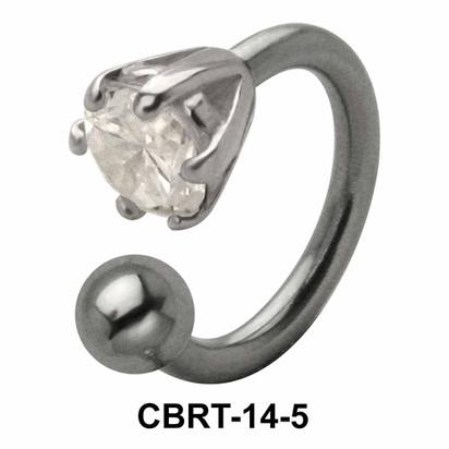 Prong Set Stone Belly Piercing Circular Barbell CBRT-14
