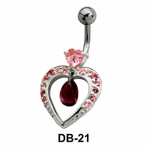 Stone Studded Heart Belly Piercing DB-21