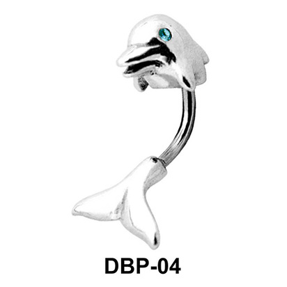 Stone Set Dolphin Belly Piercing DBP-04