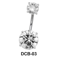 Dual Stone Set Belly CZ Crystal DCB-03