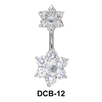 Floral Dual Stone belly Piercing DCB-12