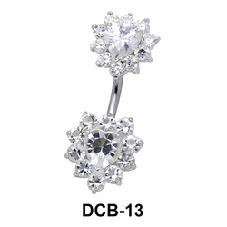 Stone Set Heart Belly Piercing DCB-13