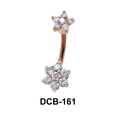 Lower Shaped Stone Set Belly Piercing DCB-161