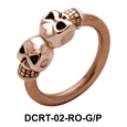 Double Skull Belly Piercing Closure Ring DCRT-02