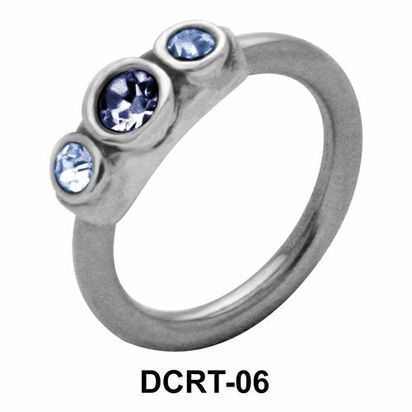 Three Stones Belly Piercing Closure Ring DCRT-06