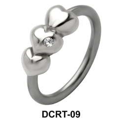 Three Hearts Belly Piercing Closure Ring DCRT-09