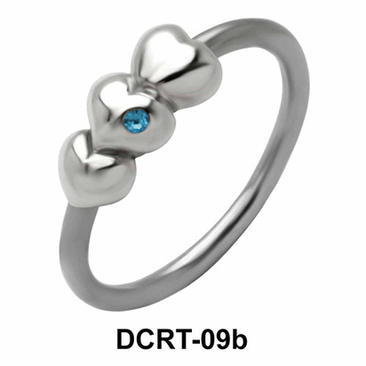 Multiple hearts Belly Piercing Closure Ring DCRT-09b