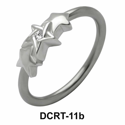 Stoned Triple X Belly Piercing Closure Ring DCRT-11b