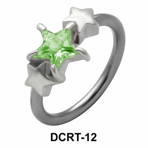 Triple X Stone Set Belly Piercing Closure Ring DCRT-12