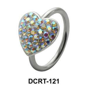 Stone Paced Heart Rainbow Belly Piercing DCRT-121