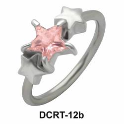 Triple X Stone Studded Belly Piercing Closure Ring DCRT-12b