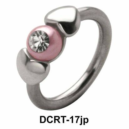 Pearl in Hearts Belly Piercing Closure Ring DCRT-17jp