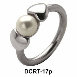 Pearl in Hearts Belly Piercing Closure Ring DCRT-17p