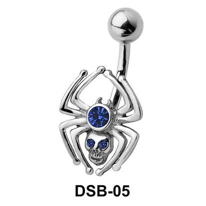 Stone Set Spider Belly Piercing DSB-05