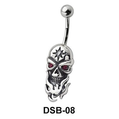 Skull n Fire Belly Piercing DSB-08