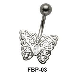 Stone Set Filigree Butterfly Belly Piercing FBP-03