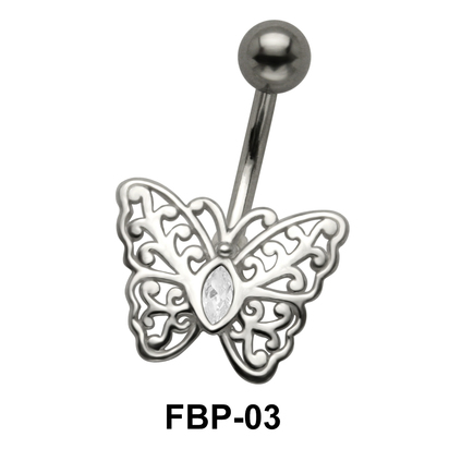 Stone Set Filigree Butterfly Belly Piercing FBP-03